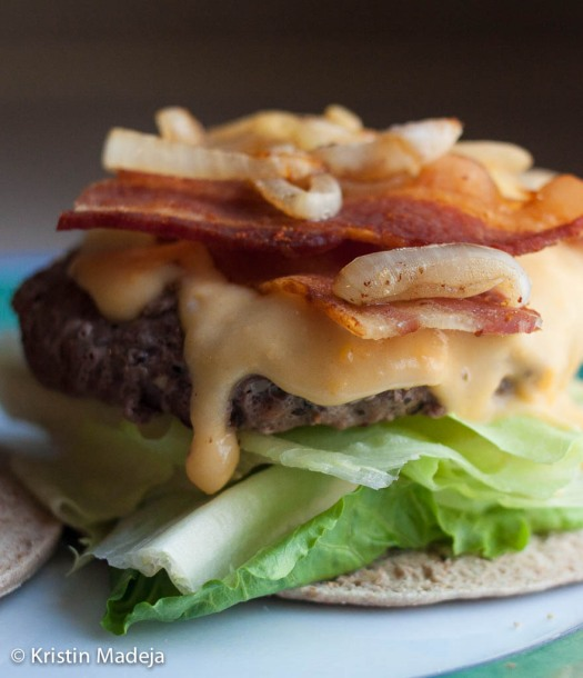 burger with cheddar beer sauce