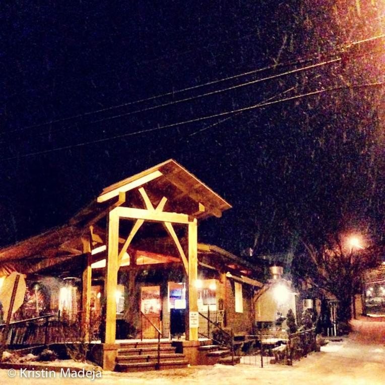 snowy restaurant